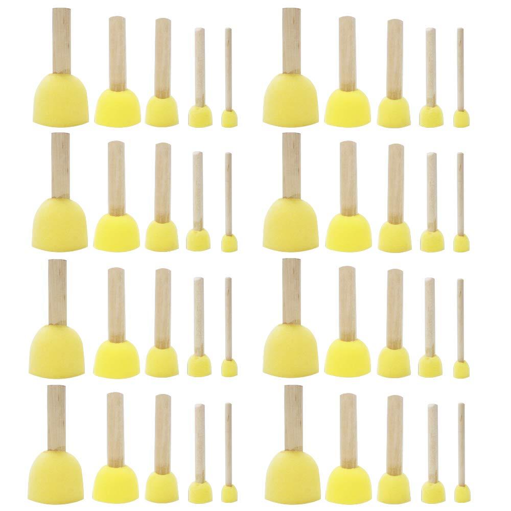 Cocoboo 40pcs Assorted Round Paint Foam Sponge Brush Set Painting Tools Sponge Stippler Set for Kids Painting Crafts and DIY(5 Sizes) (40pcs)