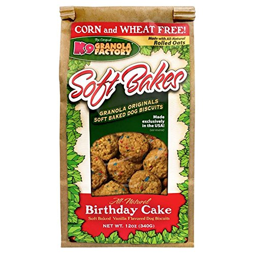 K9 Granola Factory All Natural Soft Bakes Dog Treats, 12 Ounces, Birthday Cake]()
