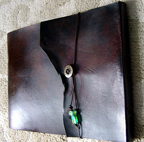 9.5'' x 12'' Large Refillable Leather Sketchbook, Natural Edge, Distressed Leather sketchbook, Refillable Journal, Large leather journal, Refillable sketchbook cover, guest book, photo album by ZenfishLeather (Image #4)