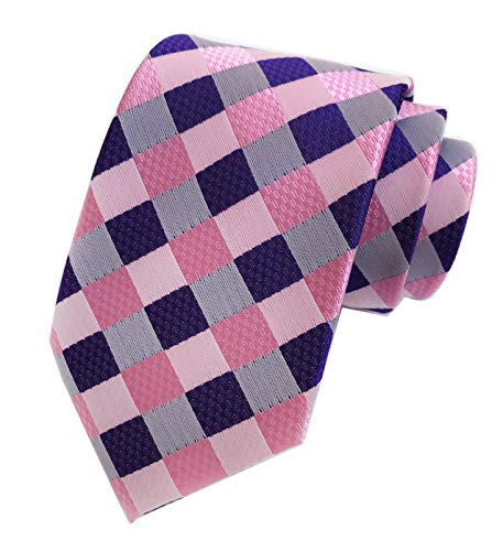 - Men's Slim Pink Purple Woven Polyester Ties Casual Party Wedding Dress Neckties