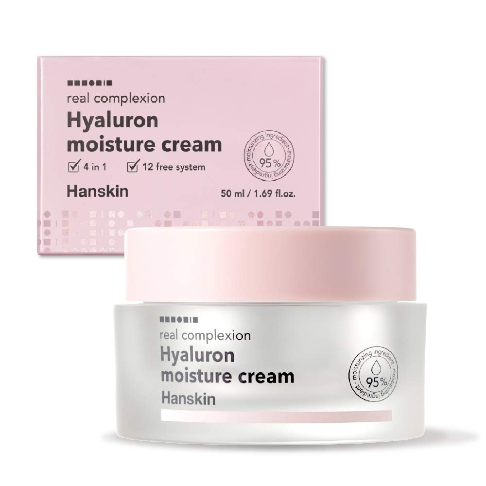Hanskin Real Complexion Hyaluron Moisture Cream - Hyaluronic Acid, Moisturizing, Glowing, Soft & Fragrance-Free. Hanskin Official [50g] by Hanskin