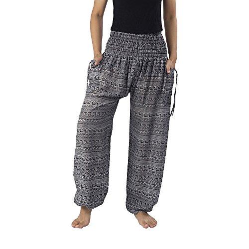 Lannaclothesdesign Women's Smocked Paisley Muang Style Handmade Yoga Harem Pants Plus Black