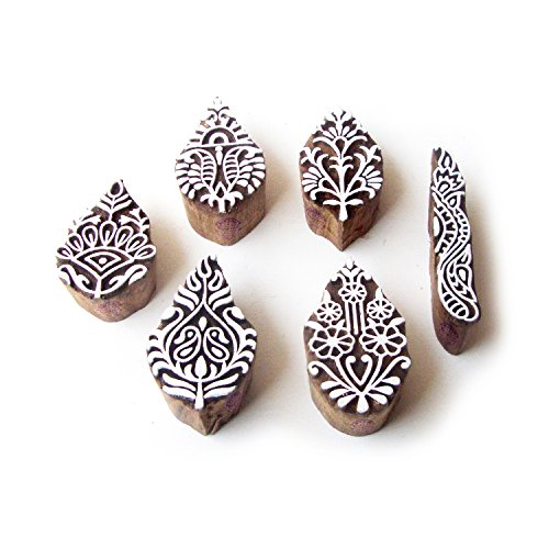 Leaf and Border Traditional Pattern Wood Block Print Stamps (Set of 6) ()