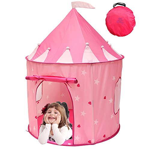 Kiddey Princess Castle Play Tent (Pink) - With Glow in the Dark Stars – Indoor/Outdoor Playhouse for Girls, With Carry Case for Easy Travel and Storage. Great Gift -