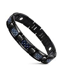 JFUME Magnetic Bracelets Men Black Bracelet Stainless Steel Carbon Fiber