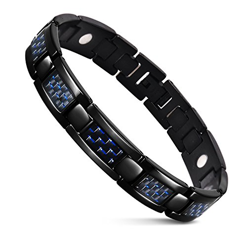 JFUME Men Bracelet Black with Blue Carbon Fiber and Magnetic Natural Pain Relief for Arthritis and Joint Pain -