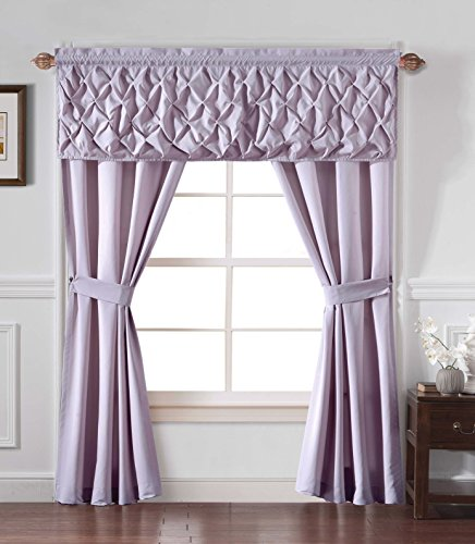 GoodGram Unique 5 Piece Window Curtain Set By Assorted Colors (Lilac Kitchen)