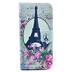 PIZU Retro Colorful Printed Hasp Magnet Button Buckle Wallet Flip Cover Case Stand Credit Card ID Holders PU Leather Case For Samsung Galaxy S4 i9500 Eiffel Tower & Flowers
