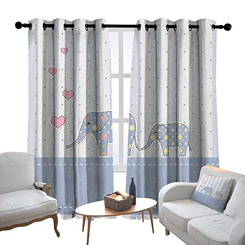 - Bedroom Curtains Elephant Nursery,Baby Shower Themed Cheerful Newborn Celebration with Pastel Toned Striped, Multicolor,Thermal Insulated Room Darkening Window Shade 54