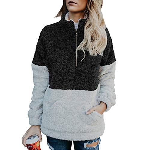 Mescara Felpa Donna Giacca Pullover Inverno Tenere Caldo Cappotto Collo Alto Manica Lunga Con Cerniera Top Patchwork Nero