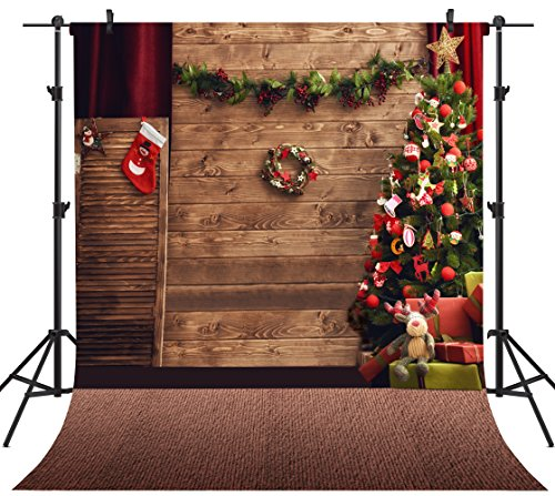 OUYIDA 10X10FT Seamless Christmas Theme CP Pictorial Cloth Photography Background Computer-Printed Vinyl Backdrop TD78A -