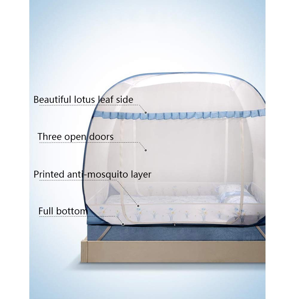 YXQ- Mosquito Net - Yurt Type Does Not Installation Require Three-Door Encryption Padded Mosquito Net - Size: Suitable for 5 Foot Bed, for 6 Foot Bed Mosquito net (Size : Suitable for a 6 Foot Bed) by YXQ- (Image #4)
