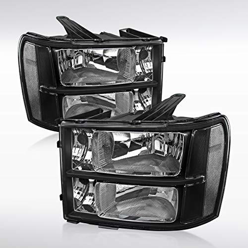 Autozensation GMC Sierra 1500 2500 3500HD Euro Black Diamond Headlights Left+Right - Euro Headlights Gmc