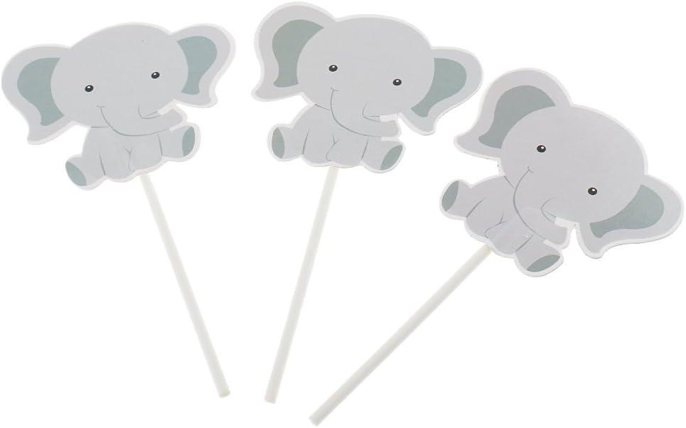 24Pca Elephant Shaped Stick Cake Topper Party Birthday Dessert Decor Supplies Grey
