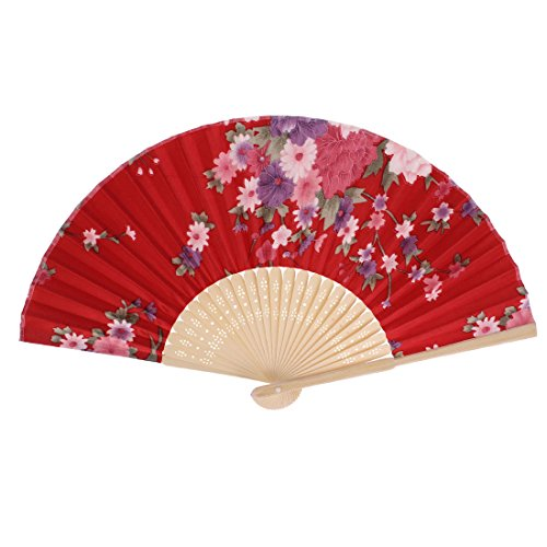 Fabric Chinese Style Flower Pattern Dancing Folding Held Hand Fan Red
