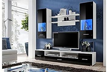 Meuble Tv Design Mural Peker Noir Et Blanc Amazonfr Cuisine