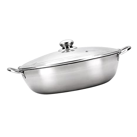 Fityle Thicken 304 Stainless steel Induction Cooker Hot Pot Pan with Lid 2  Types - No