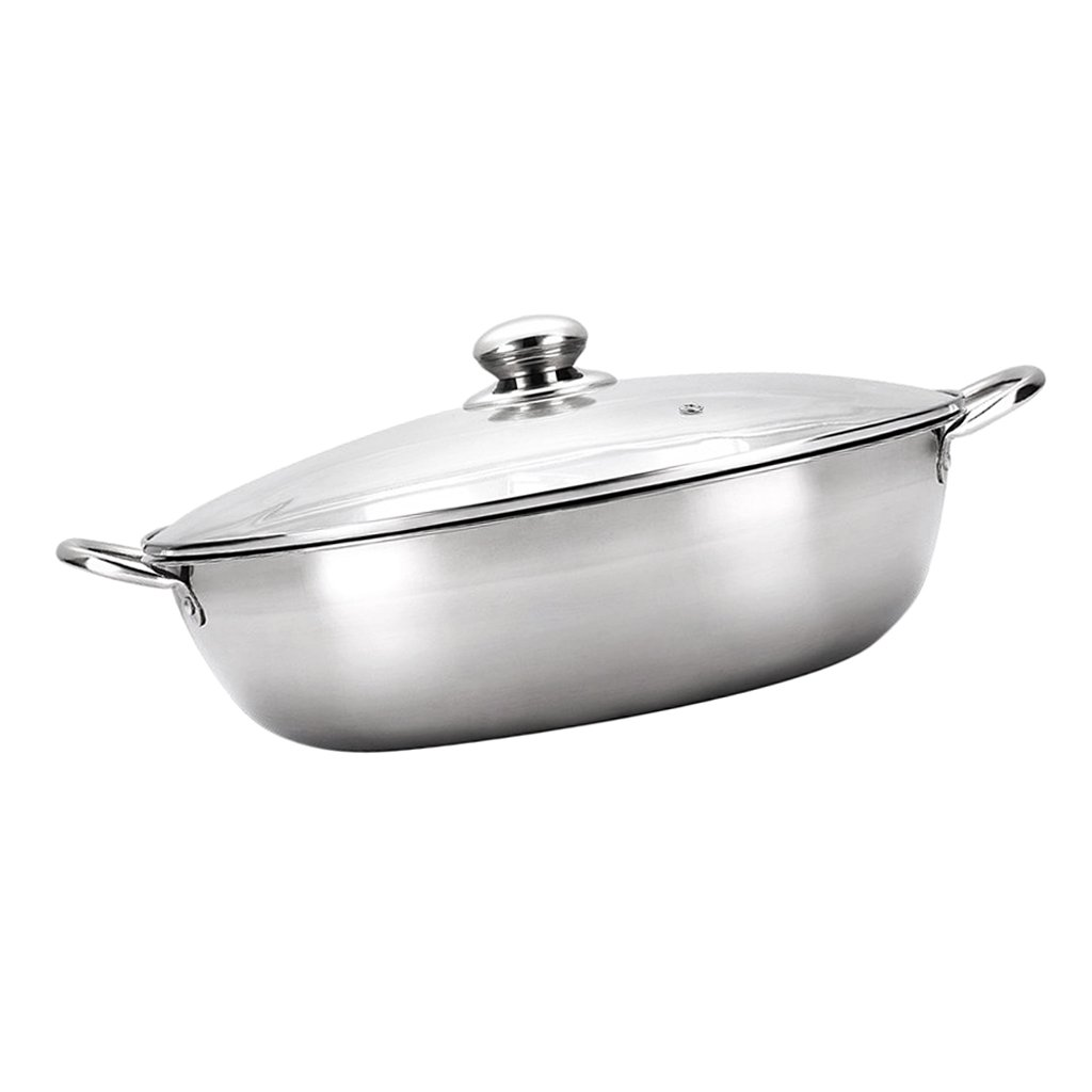 Fityle Thicken 304 Stainless steel Induction Cooker Hot Pot Pan with Lid 2 Types - No separator