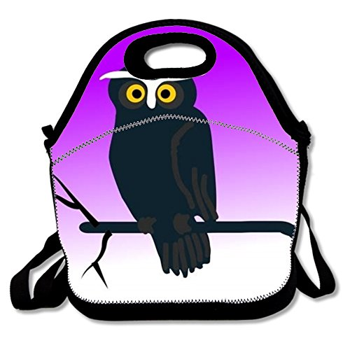 Clipart Halloween Owl Neoprene Lunch Bag Insulated Lunch Box Tote for Women Men Adult Kids Teens Boys Teenage Girls Toddlers£¬shopping bag (Black)