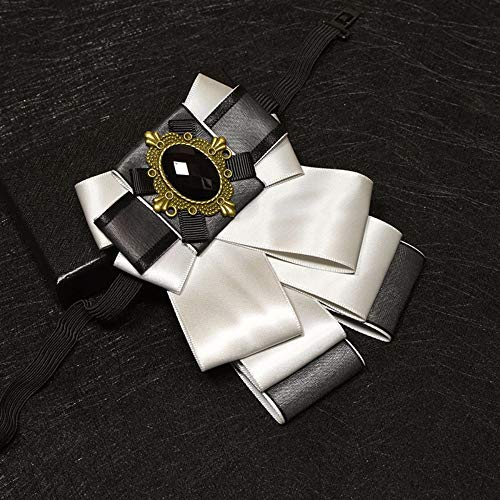 Cameo Flower Fabric Rhinestone Pins and Brooches Vintage Luxury Badge Cravat Broche for Men Gray ()