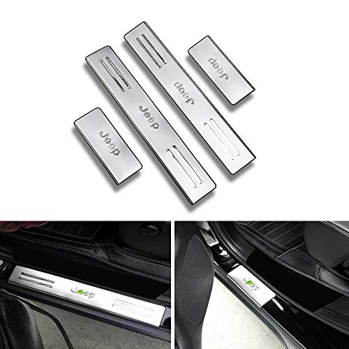 KPGDG 4 PCS Fit for Jeep Grand Cherokee 2014-2018 Outside External Stainless Steel Door Sill Scuff Plate Guard Sills Protector Trim