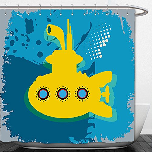 Interestlee Shower Curtain Yellow Submarine Decor An Illustration of a Submarine Bubbles Under the Sea Print Mustard Petrol Blue