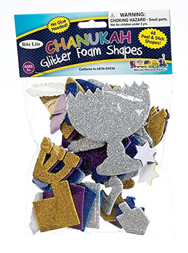 Chanukah Glitter Foam Shapes Stickers - Hanukkah Activity for Kids - Jewish ()