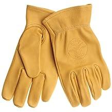 Klein Tools 40022 Deerskin Work Gloves, Unlined, Large (Tan)