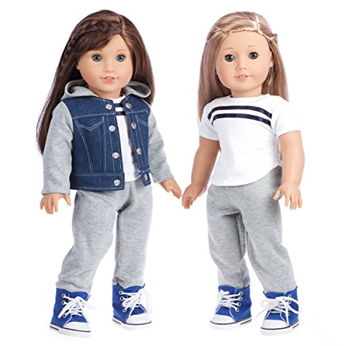 DreamWorld Collections - Tomboy - 4 Piece Outfit - Clothes Fits 18 Inch American Girl Doll - Jeans Jacket, Grey Sweatpants, T-Shirt Boots. ( Dolls Not -