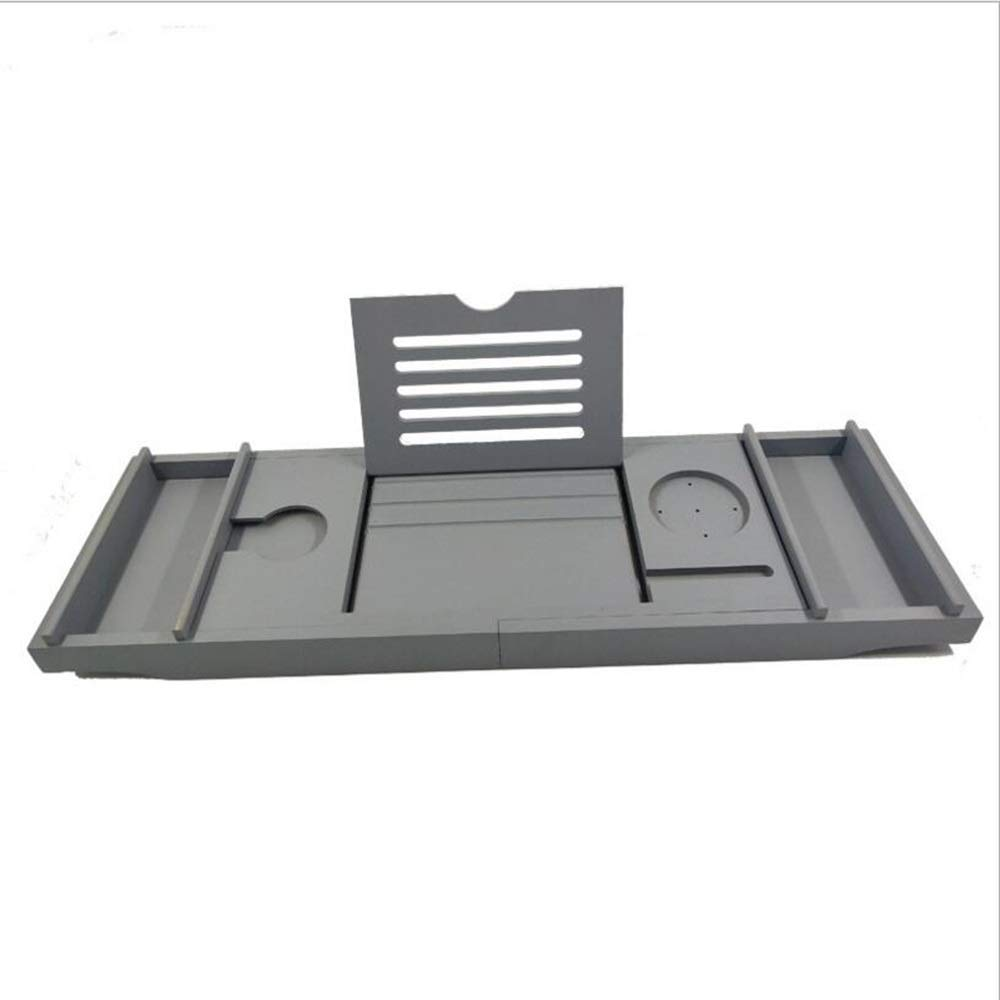 Bathtub Trays HAIZHEN, Bamboo, Adjustable Telescopic Bed Laptop Desk with Wine Glass/Phone Holder /2 Sliding Tray (Gray) by Bathtub Trays (Image #3)