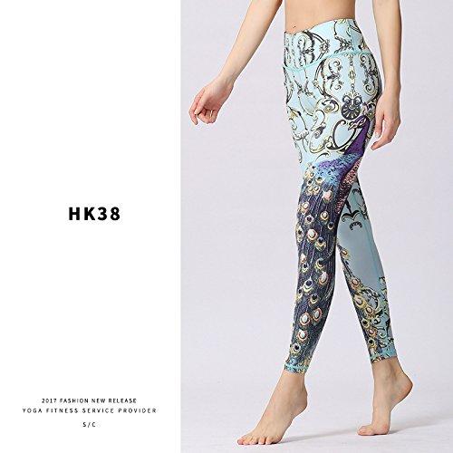 Hk38 L JIALELE Yoga Pants Yoga Leggings Print Stamp 9 Pants Stamp Yoga 9 Pants Outdoor Sports Clothing Dance