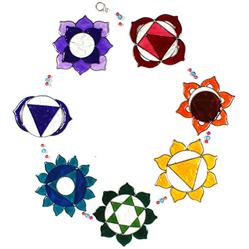 Stained Glass Mountains - Seven Sacred Chakra Symbol Colourful Window Sun Catcher Stained Glass Effect - Free Postage