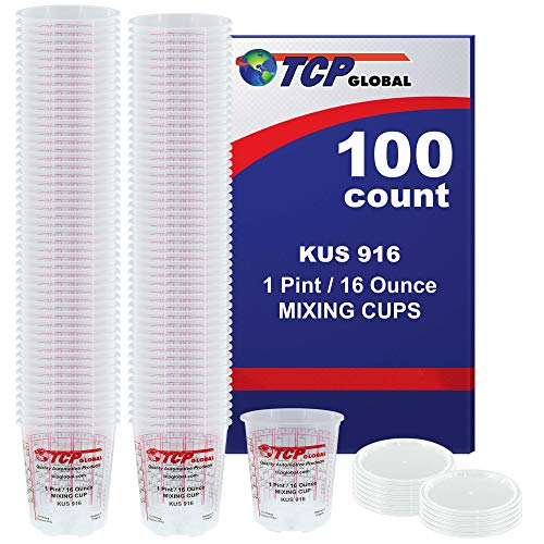 (Full Case of 100 each - Pint (16oz) PAINT MIXING CUPS) by Custom Shop - Cups have calibrated mixing ratios on side of cup BOX OF 100 - Each Pack 16 Ounce
