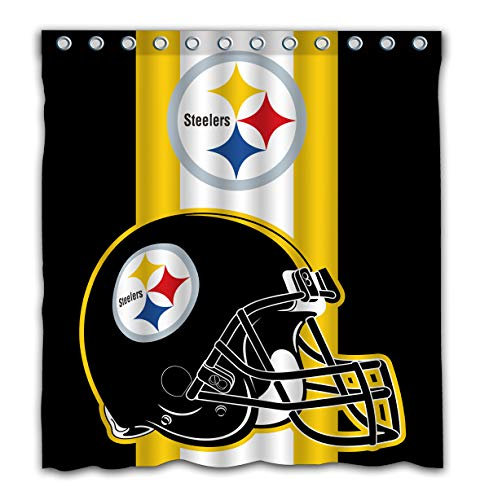 Potteroy Pittsburgh Steelers Team Simple Design Shower Curtain Waterproof Polyester Fabric 66x72 Inches