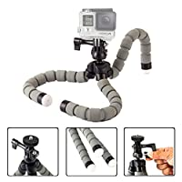 KingJoy KT-600S Mini Flexible Tripod Lightweight Adjustable Octopus Tripod Legs Selfie Stick Stand with Universal Phone Clip Holder for iPhone Cell