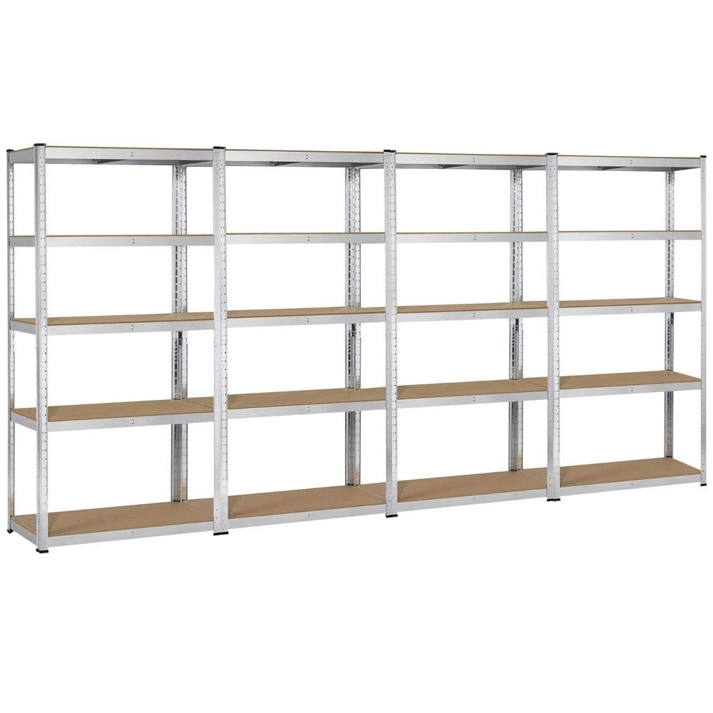 Topeakmart 5 Tier Storage Rack Heavy Duty Adjustable Garage Shelf Steel Shelving Unit,71in Height, 4 Bay Garage Shelf by Topeakmart