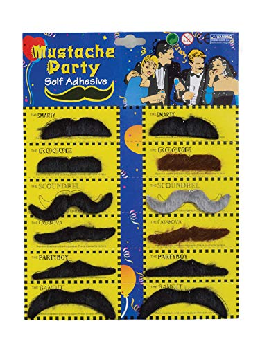 Forum Novelties Self-Adhesive Moustaches (12 Styles) -