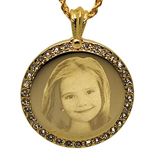 Photo engraved necklace amazon personalized photo engraved crystal inlaid round pendant necklace free engraving included aloadofball Gallery