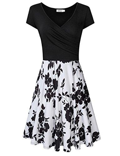 MISSKY Women V Neck Short Sleeve Pocket Floral Print Swing Vintage Casual Summer Dress (L, W-BF-Short Sleeve
