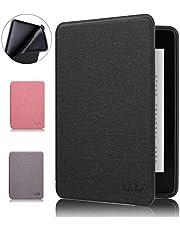 Capa Kindle Paperwhite, WB, Ultra Leve, Auto Hibernação, Sensor Magnético, Silicone Flexível, Estilo Tecido, Preta