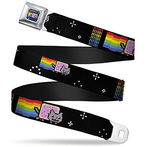 Buckle-Down Seatbelt Belt - NYAN Repeat2 w/Nyan Cat Black - 1.5