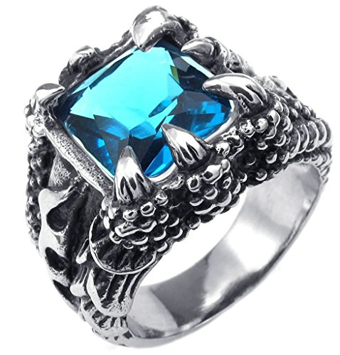 Adisaer Mens Stainless Steel Rings Retro - Blue Crystal 7 Dragon Claws Dragon Scales Size 10 Jewelry