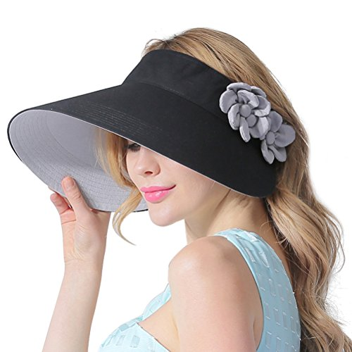 CACUSS Women's Summer Sun Hat Large Brim Visor Adjustable Velcro Packable UPF...