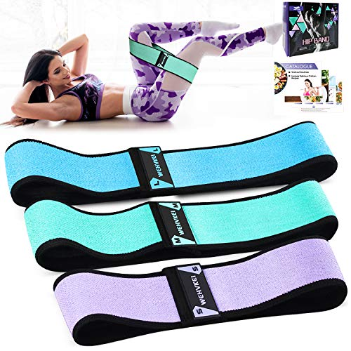 Fabric Exercise Resistance Bands for Legs and Butt-Perfect Activate Glutes and Thighs - Hip Loop Bands Circle, Non-Rolling Thick Wide Workout Resistance Set of 3 for Women and Men