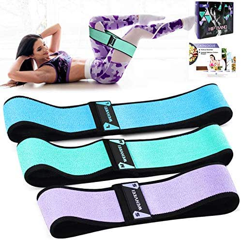 WEHVKEI Fabric Exercise Resistance Bands for Legs and Butt-Perfect Activate Glutes and Thighs - Hip Loop Bands Circle, Non-Rolling Thick Wide Workout Resistance Set of 3 for Women and Men