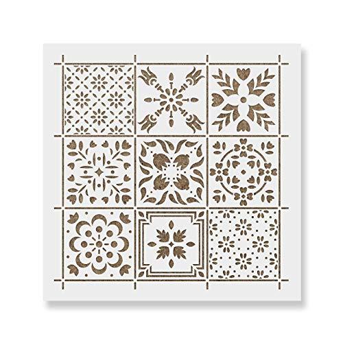 "Scandinavian Mosaic Tile Stencil - Laser-Cut Reusable Floor Stencil & Backsplash Tile Stencils for Home Decor, Furniture, and Walls - 8""x8"""