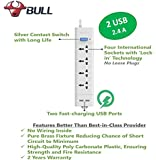 Bull 4  Socket,2 Fast Charging USB, 1 Switch , 2 M Wire Extension Board,White/Blue