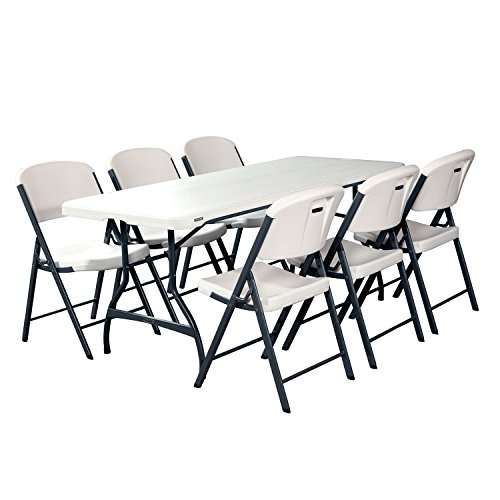 Combo-1 Banquet 6' Commercial Table and 6 Folding Chairs, White Granite, events, catering, party, birthday by Lifetime