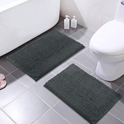 MAYSHINE 16x24 Inches Non-Slip Bathroom Rug Shag Shower Mat Machine-Washable Bath Mats with Water Absorbent Soft Microfibers, 2 Pack, Dark Gray (Reversible Mats Bath)
