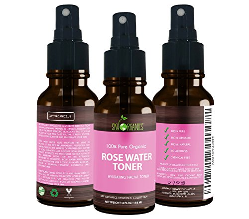 Organic Rose Water Toner by Sky Organics 4oz-100% Pure, Organic Distilled Rosewater Toner For Face And Hair- Best...